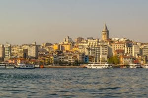 2 Days in Istanbul Itinerary: View of Galata Tower from Water