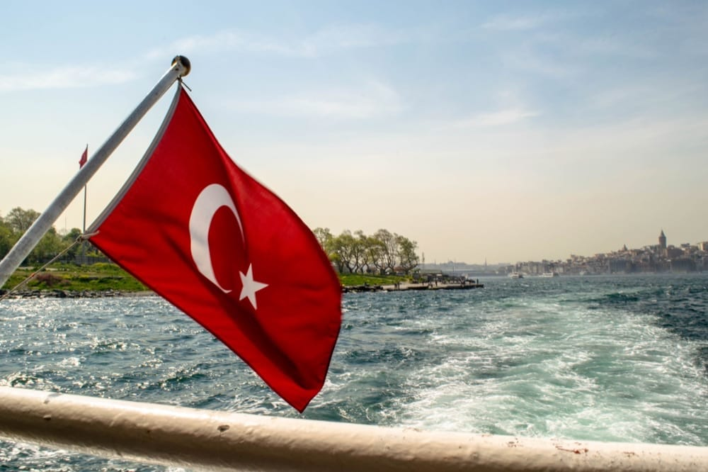 2 Days in Istanbul: Bosphorus Strait with Turkish Flag