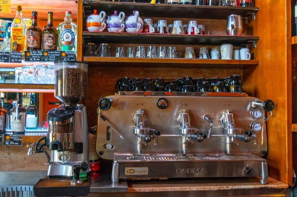 Espresso machine in a bar in Italy, how to order coffee in Italy guide