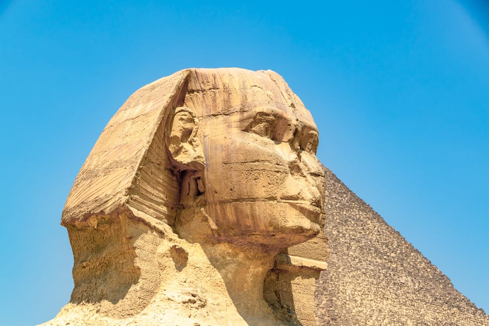close up of the head of the great sphinx in giza