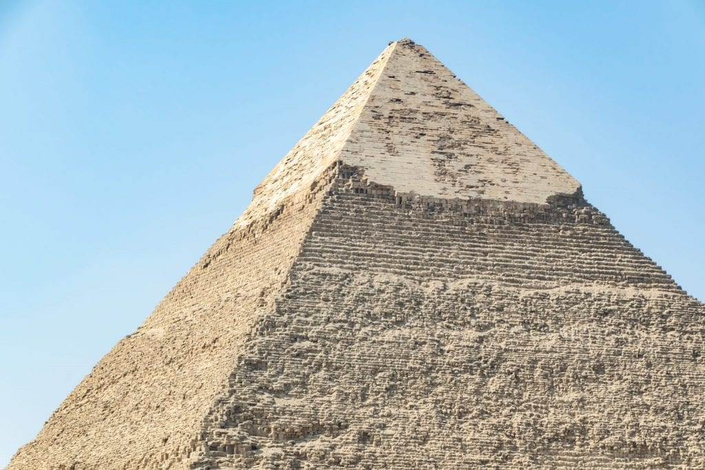 pyramid of giza top as seen during a one day layover in cairo egypt