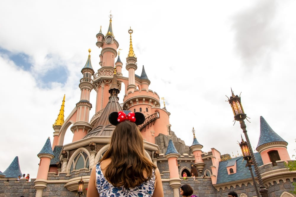 Paris in Winter: Girl with Disneyland Paris Castle