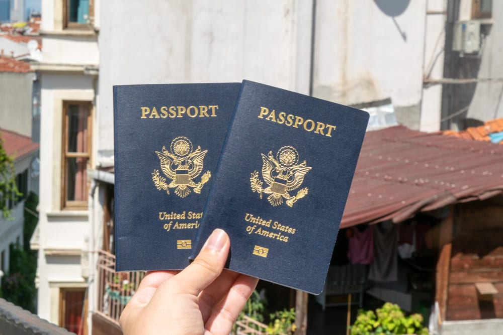 two us passports being held up in istanbul turkey. checking your passport expiration date is important for a travel checklist international