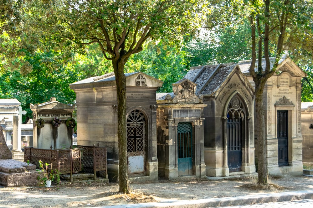 Mausoleums in Pere Lachaise Cemetery, Paris France--this cemetery is one of the many free things to see in Paris