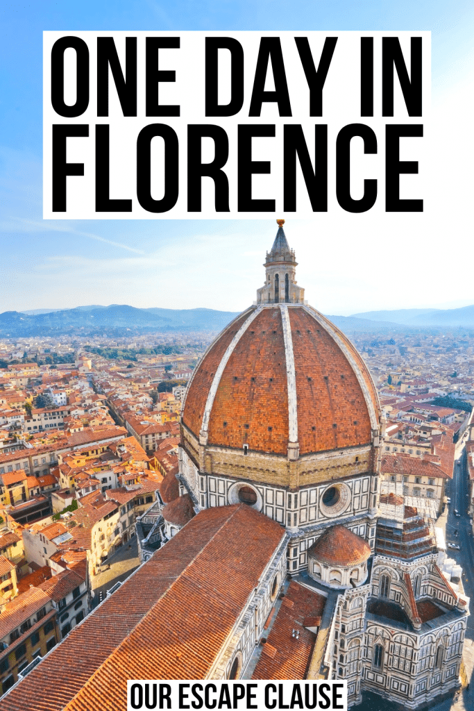 "photo of florence duomo from above, black text on a white background reads ""one day in florence"""