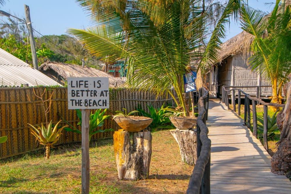 Tofo, Mozambique: Beach Sign