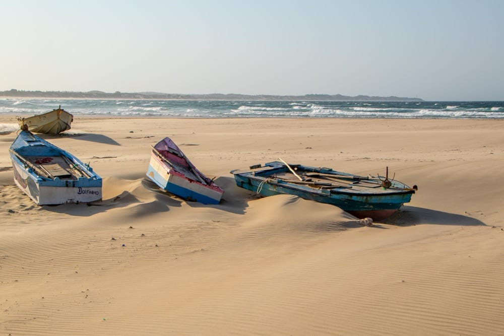 Tofo, Mozambique: Fishing Boats on Shore