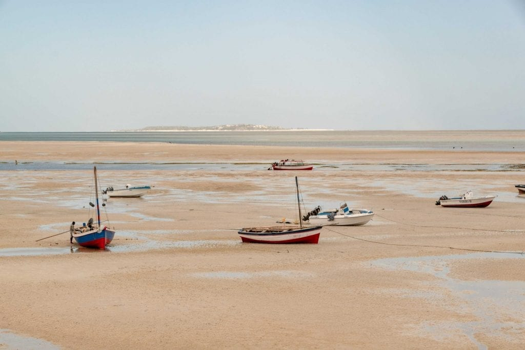 Boats on the sand in Vilanculos Mozambique