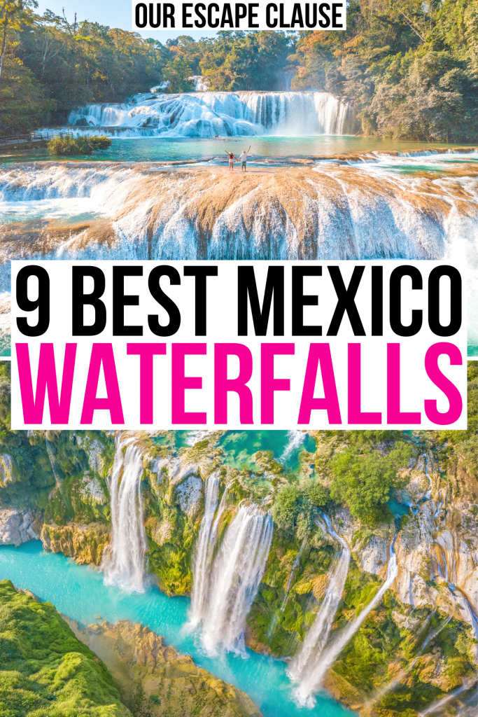 """photos of agua azul and tamul waterfall, black and pink text in a white background reads """"9 best mexico waterfalls"""""""