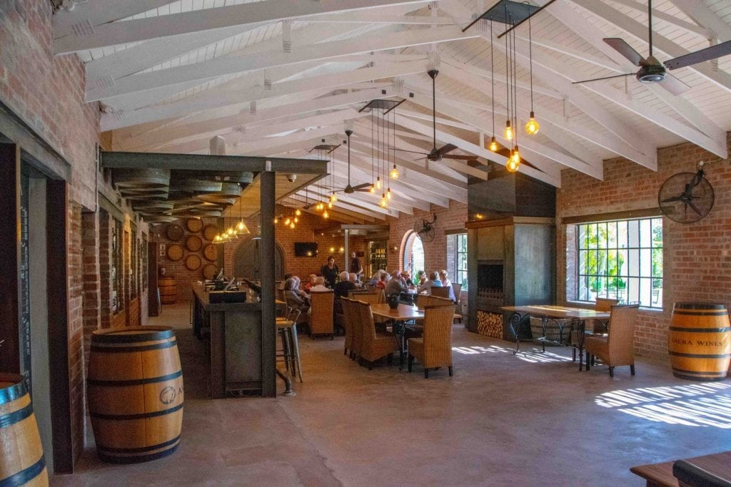 interior of a tasting room in cape winelands south africa
