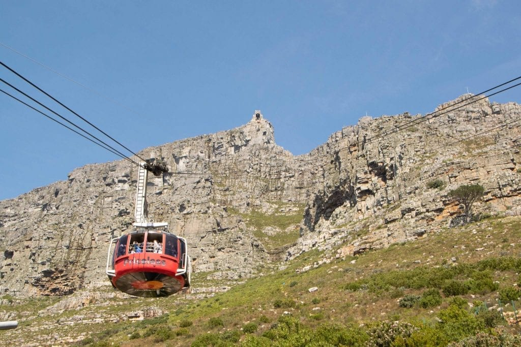 red cable car climbing table mountain during an itinerary for cape town south africa
