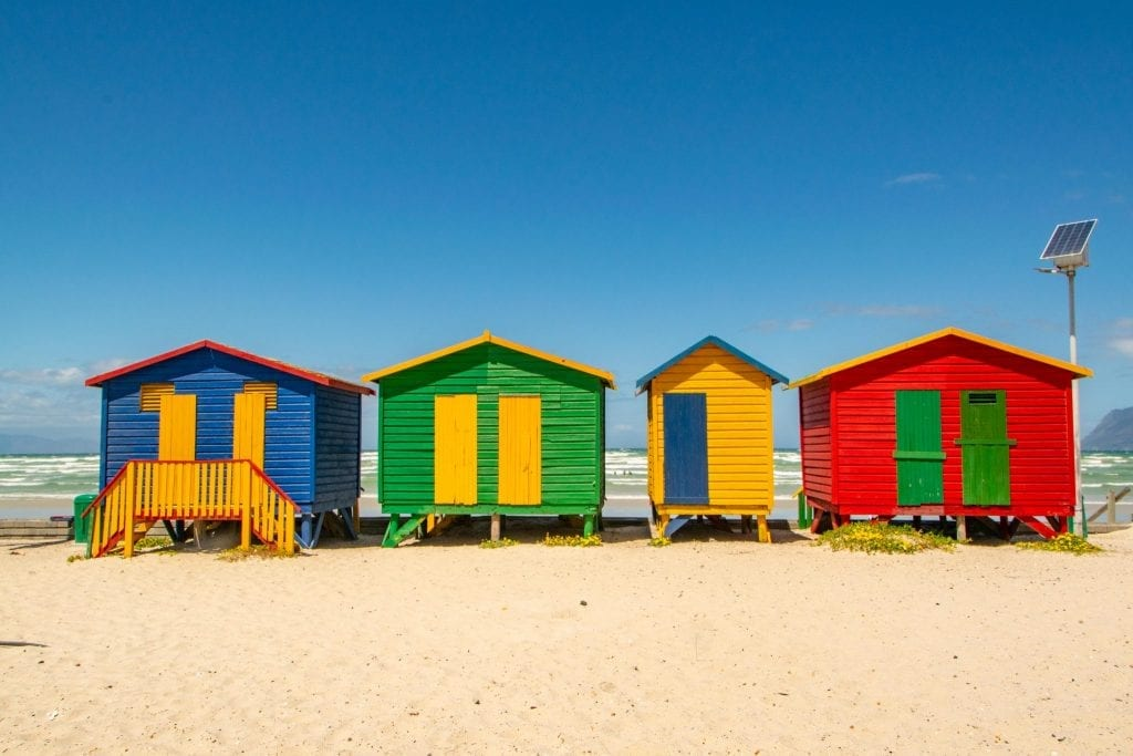 2 weeks in South Africa Itinerary: Beach Huts on Muizenberg Beach