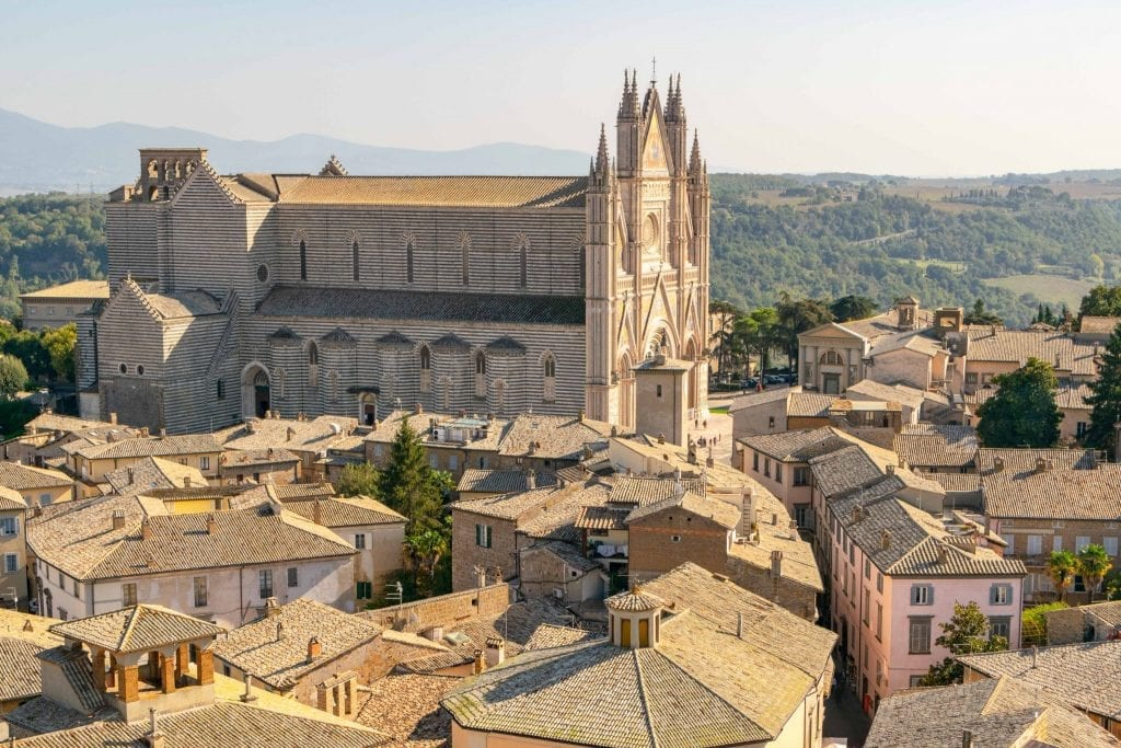 View of Orvieto Duomo as seen from Torre del Moro