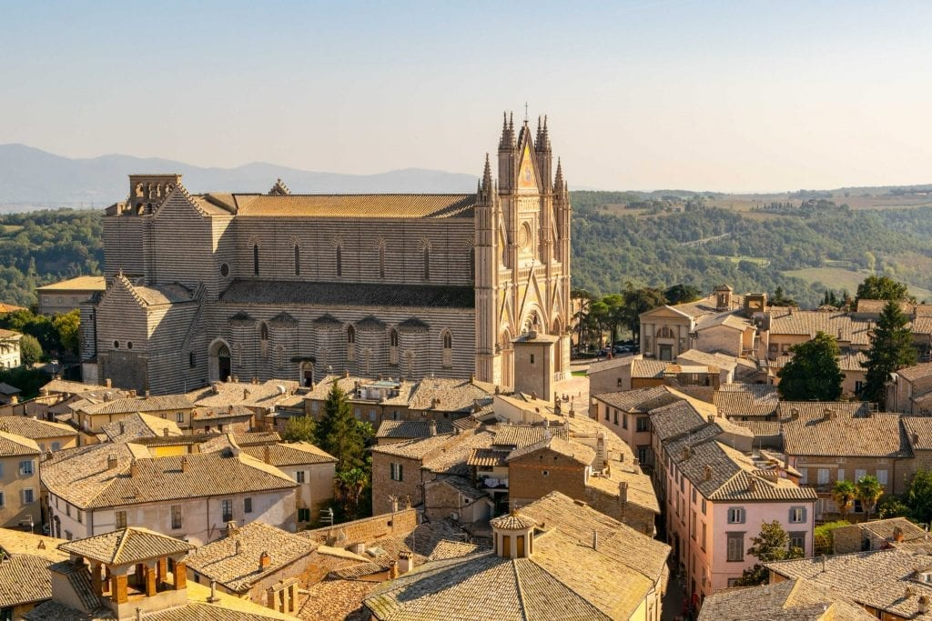 View of Orvieto Cathedral from Torre del Moro, one of the best day trips from Florence Italy