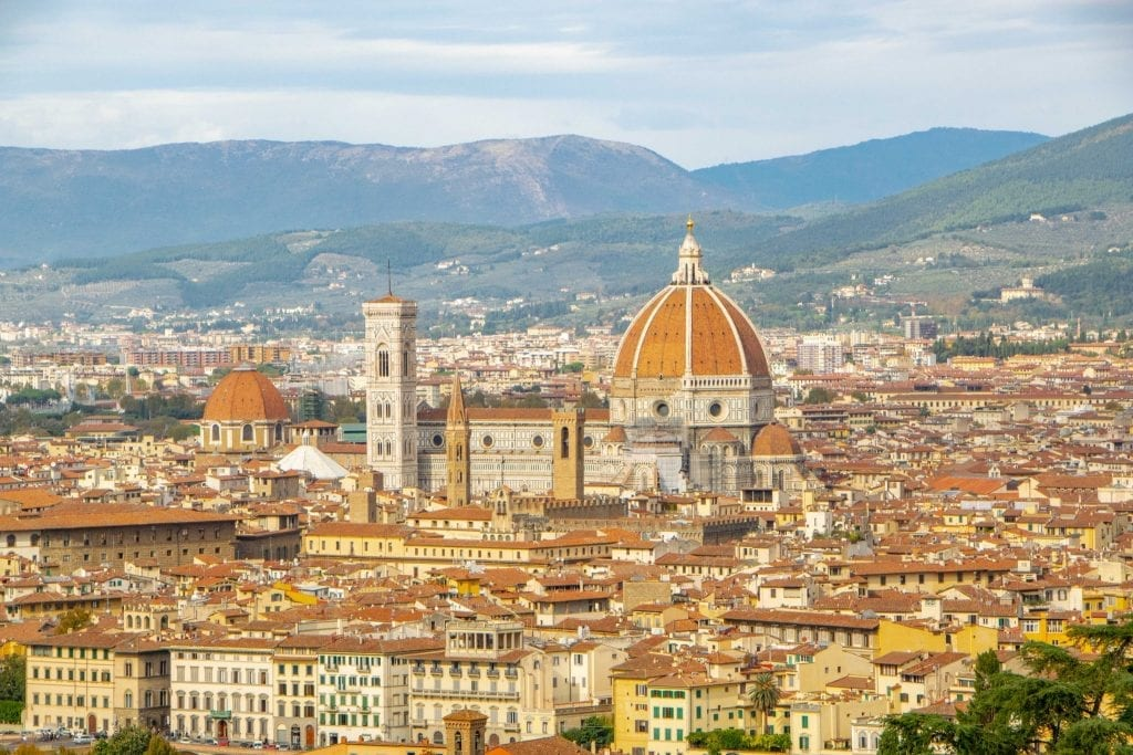 View of Florence from above with Duomo in the center--you can't go wrong adding Florence to your 2 week Europe itinerary