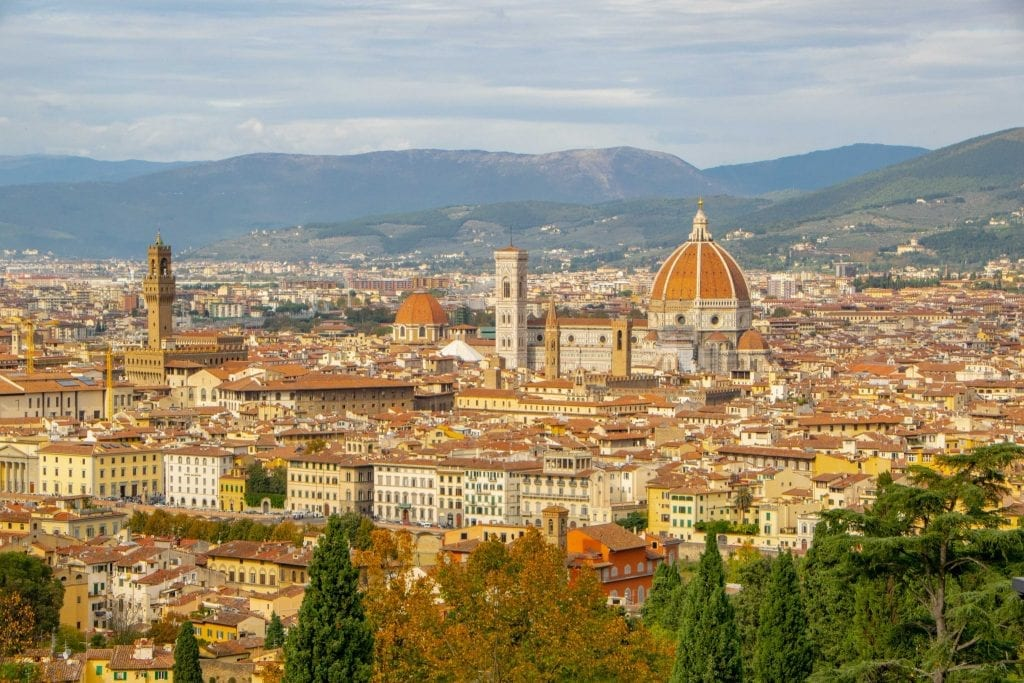 Photo of Florence skyline with Duomo in the center, shot from San Miniato al Monte--essential stop on any honeymoon in Italy!