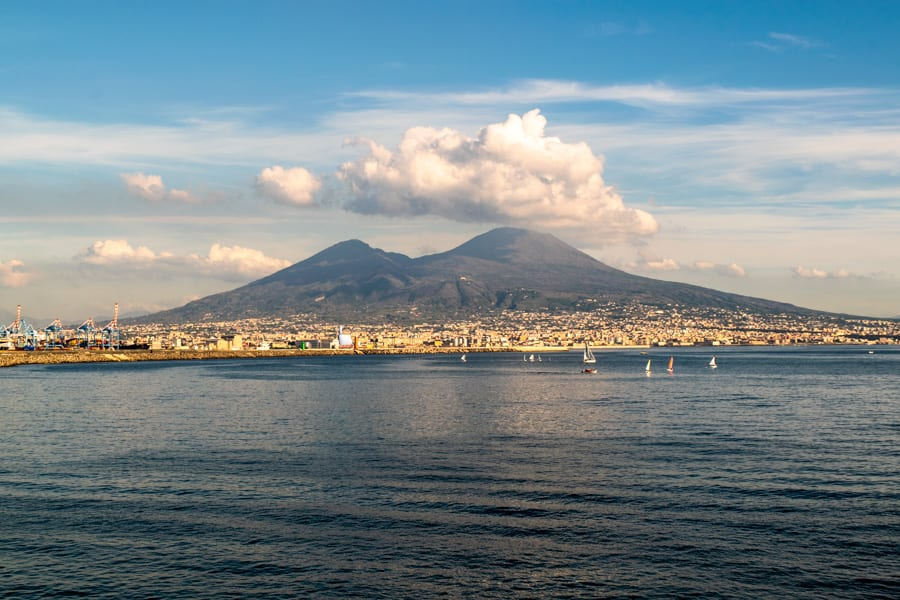 Trip to Italy Cost: View of Mount Vesuvius from Naples