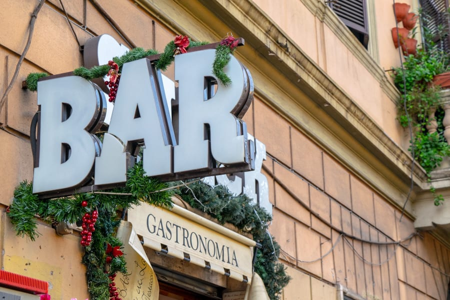 Bar sign with Christmas Decor: Rome in Winter