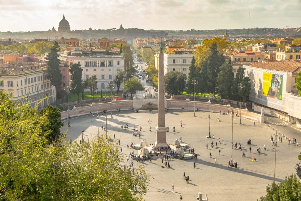 Piazza del Popolo as seen from Pinco Terrace, Most Instagrammable Places in Rome