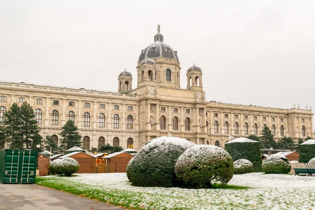 palace in vienna austria dusted with slight snow