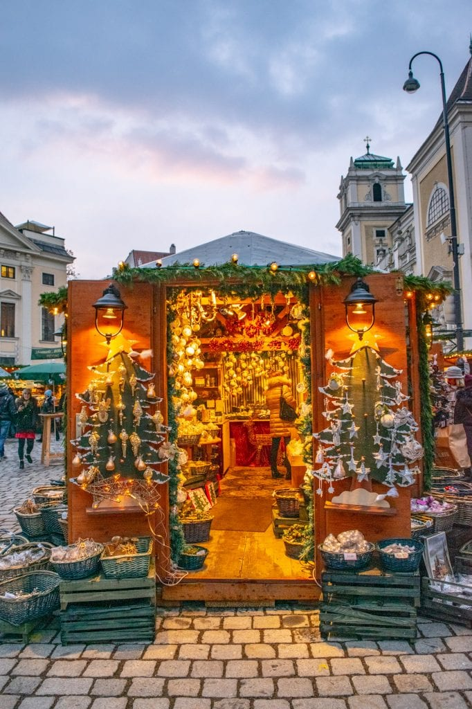christmas market booth in vienna--when deciding whether to visit budapest or vienna, vienna wins in december