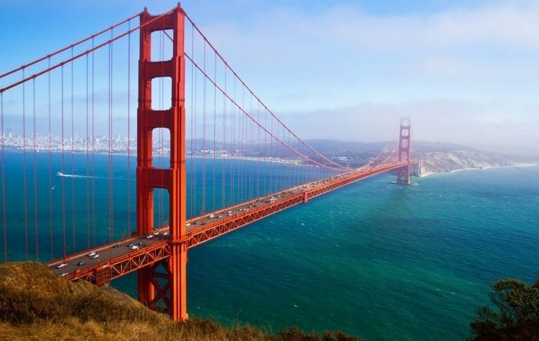 Golden Gate Bridge in San Francisco CA shot from above on a clear day