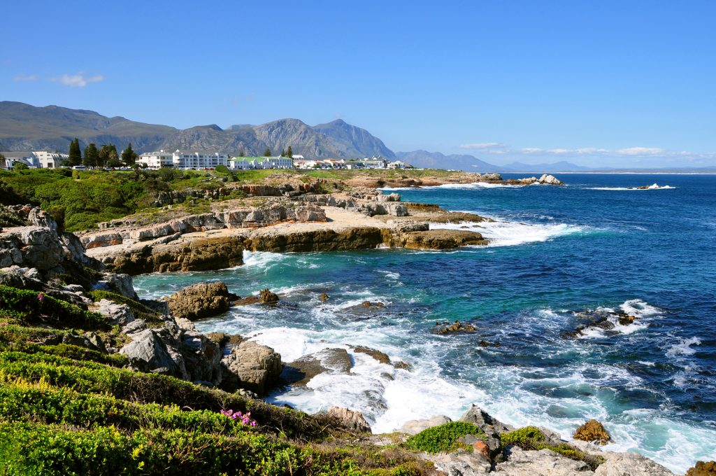 view of the coastline of hermanus south africa, one of the best places to visit south africa itineraries