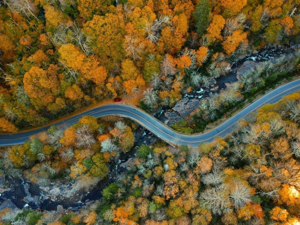 Blue Ridge Parkway USA shot from above during the fall, with fall foliage on either side of the road--one of the best weekend trips in the United States