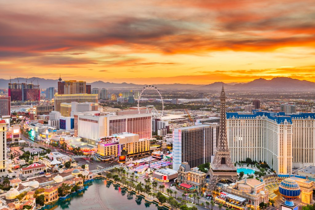 view of las vegas strip from above at sunset