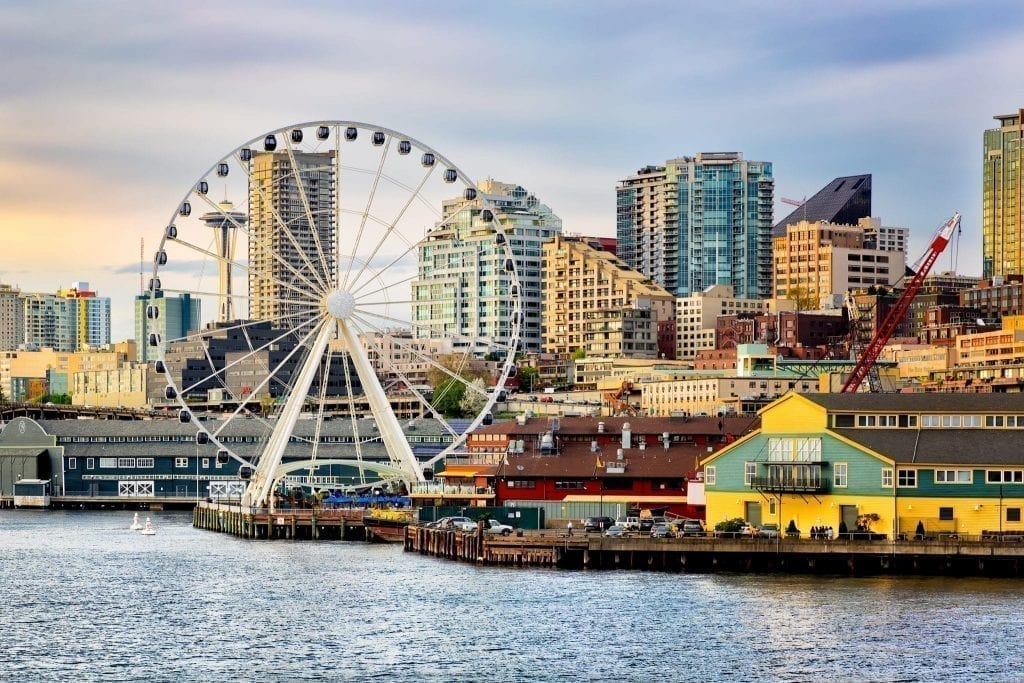 Seattle Waterfront with space needle visible through the ferris wheel