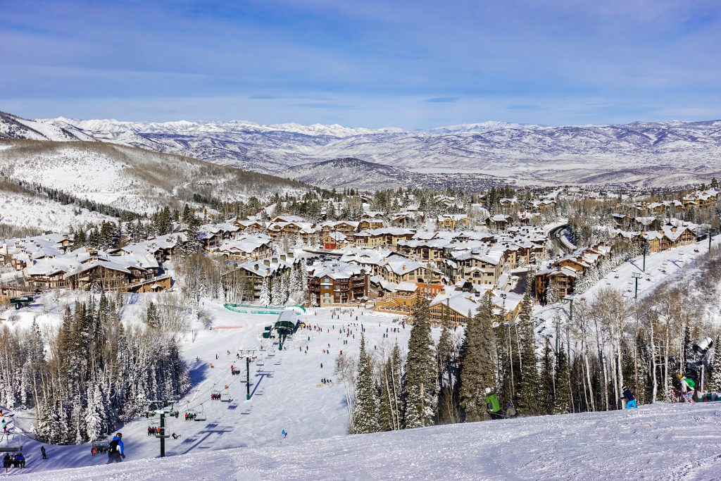park city as seen from ski slope in winter