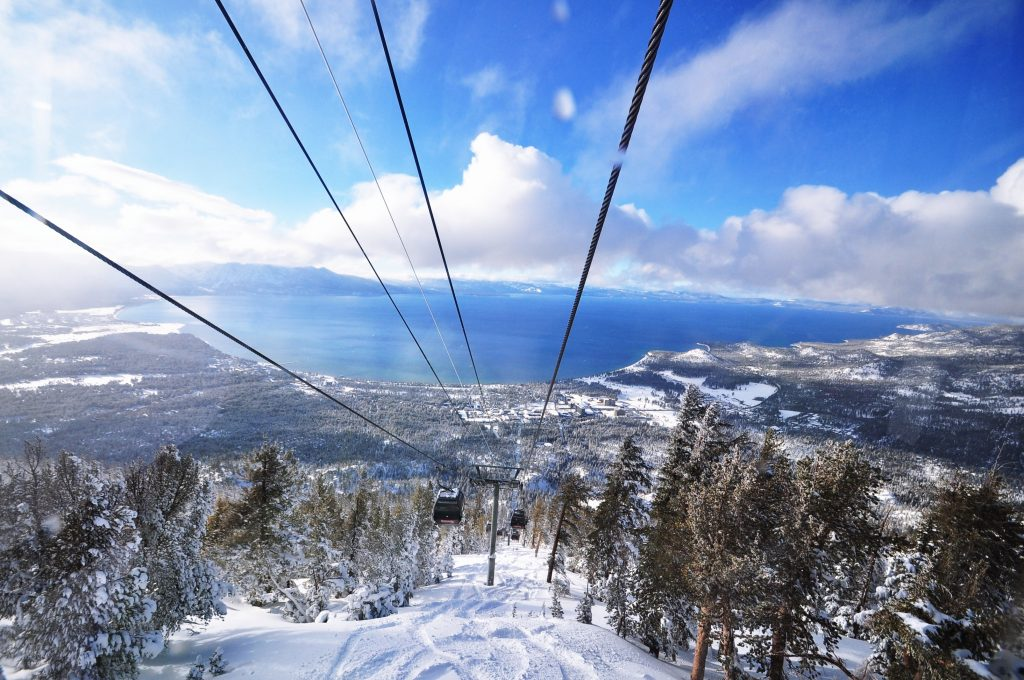lake tahoe as seen from ski slope in winter, one of the most romantic places in usa