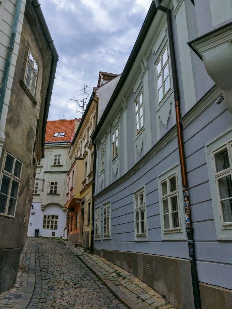 Prague Vienna Budapest Bratislava Central Europe Itinerary: Bratislava Side Street Pastel Colors