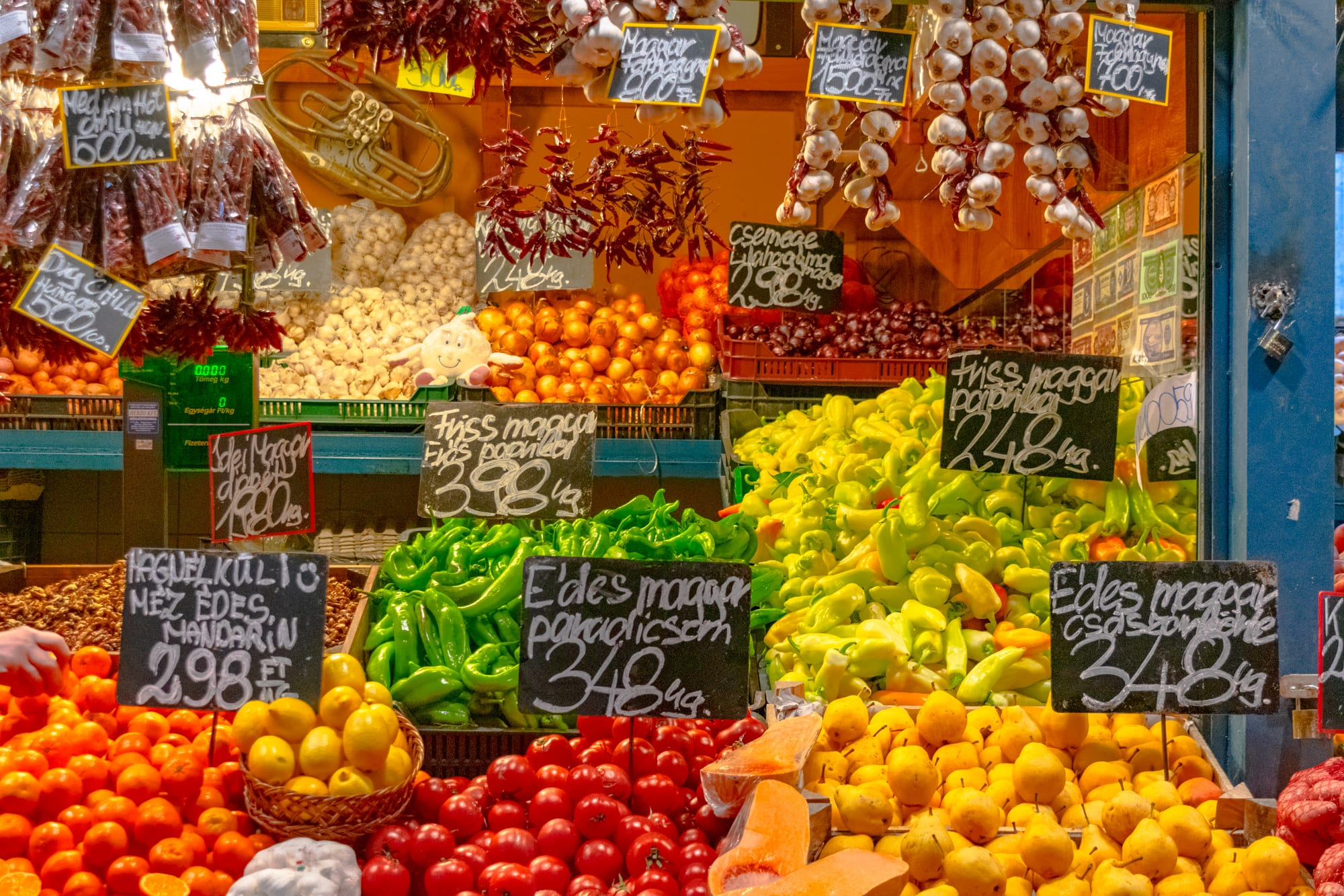 Best Food in Budapest: Fruit Stand at Central Market Hall