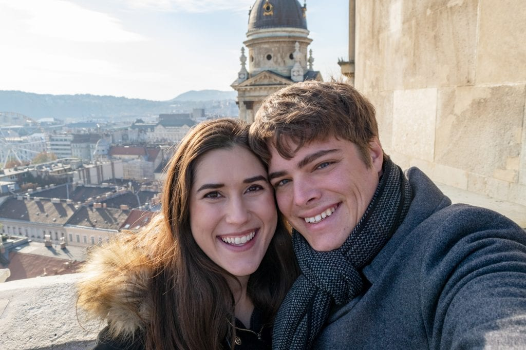 Couple on roof of St. Stephen's Basilica, Best Things to Do in Budapest