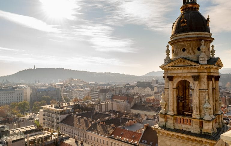 View of Budapest from St Stephen's Basilica in Budapest in November, with bell tower of cathedral on the right.