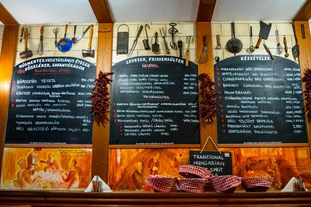 Beset Food in Budapest: Menu in Restaurant Interior