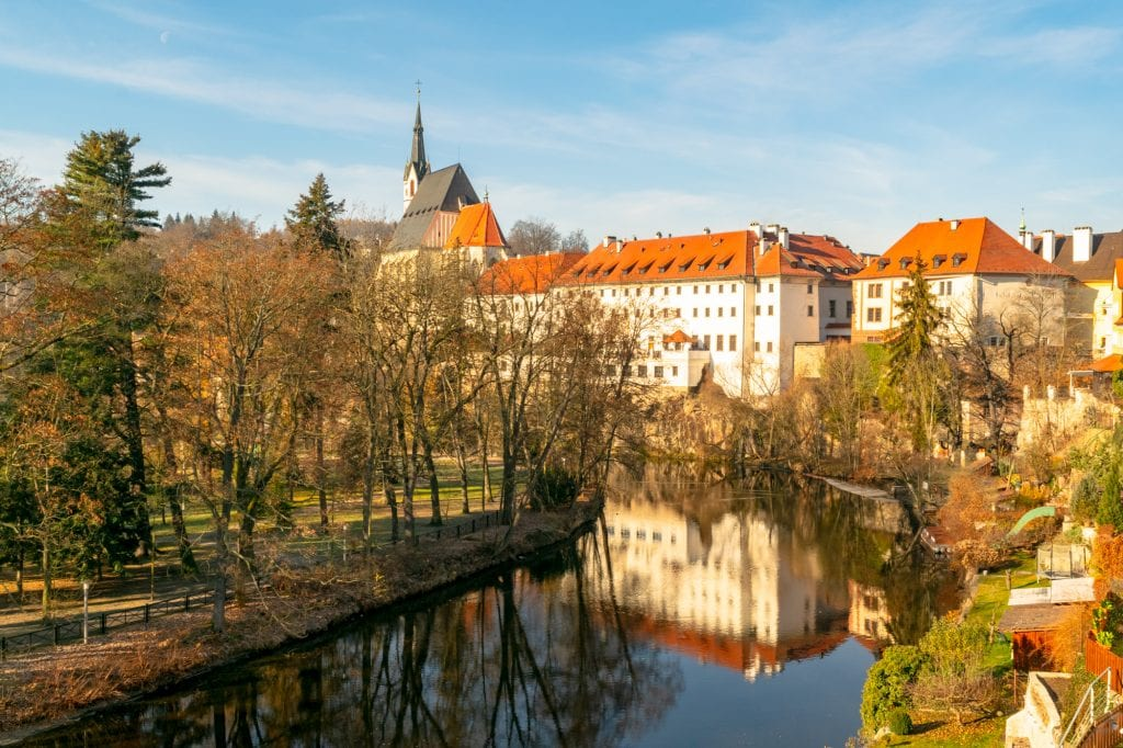 view of cesky krumlov in winter from the side of the river