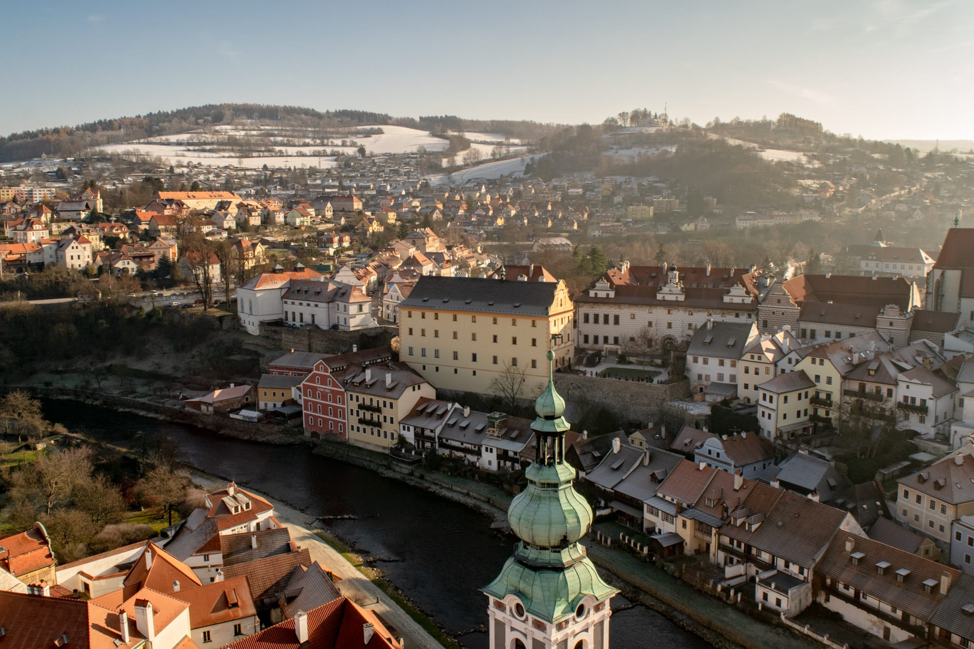 view of cesky krumlov from above after traveling Vienna to Cesky Krumlov by Train
