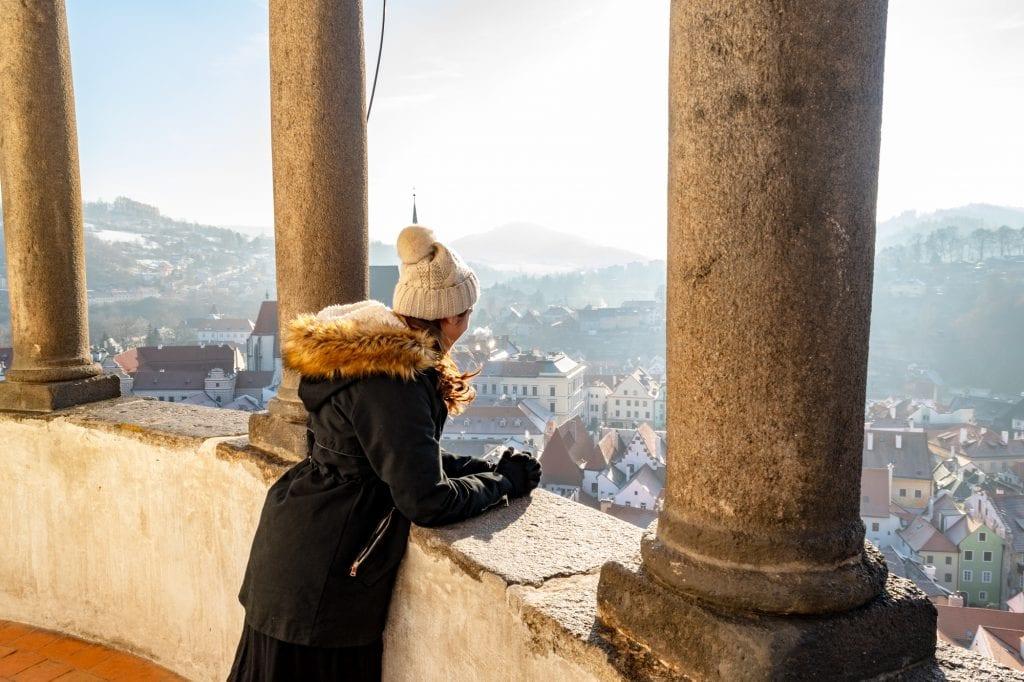 Winter in Český Krumlov: Top of Castle Tower