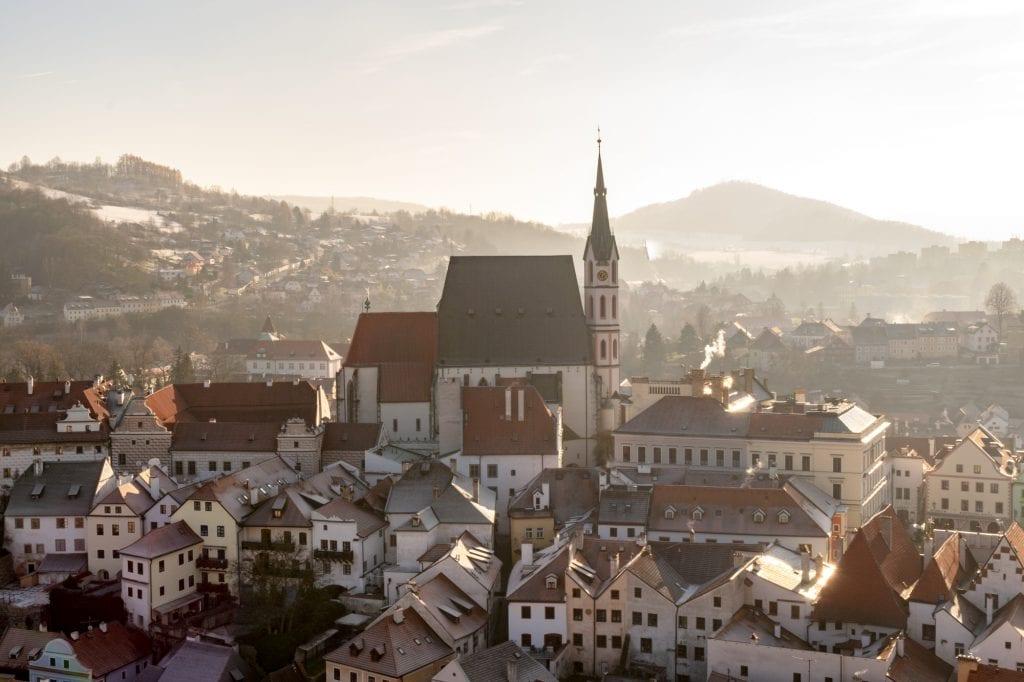 Český Krumlov in Winter: View of St. Vitus Church