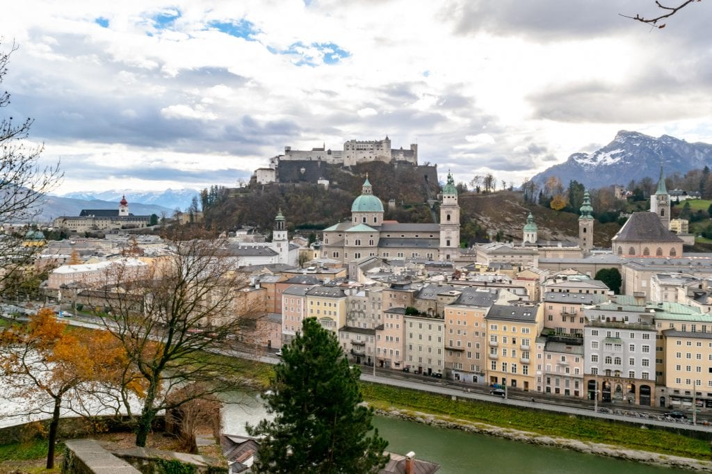 Salzburg in Winter: View of Altstadt
