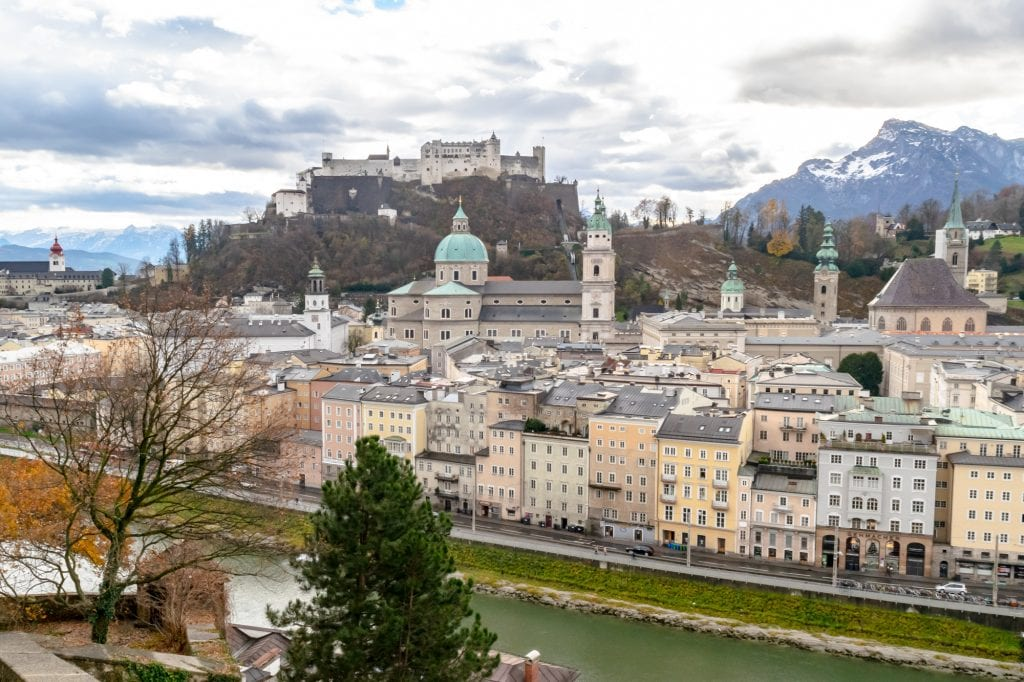 Skyline of Salzburg Austria as seen from above on a cloudy day