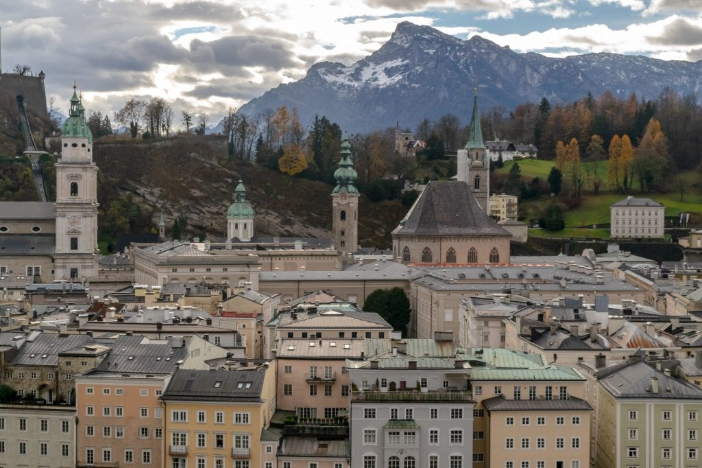 Salzburg in Winter: View of City and Alps