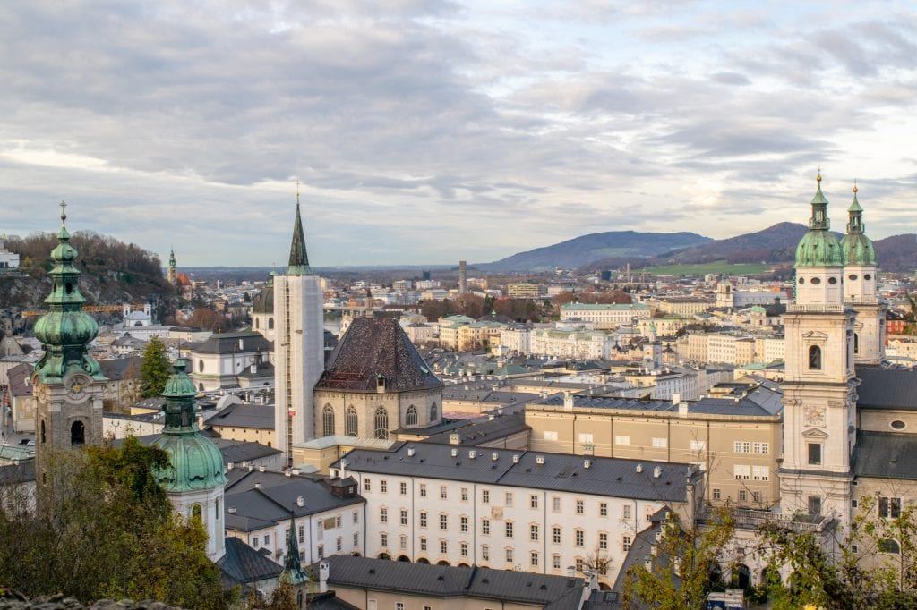 view of salzburg austria from above cloudy day