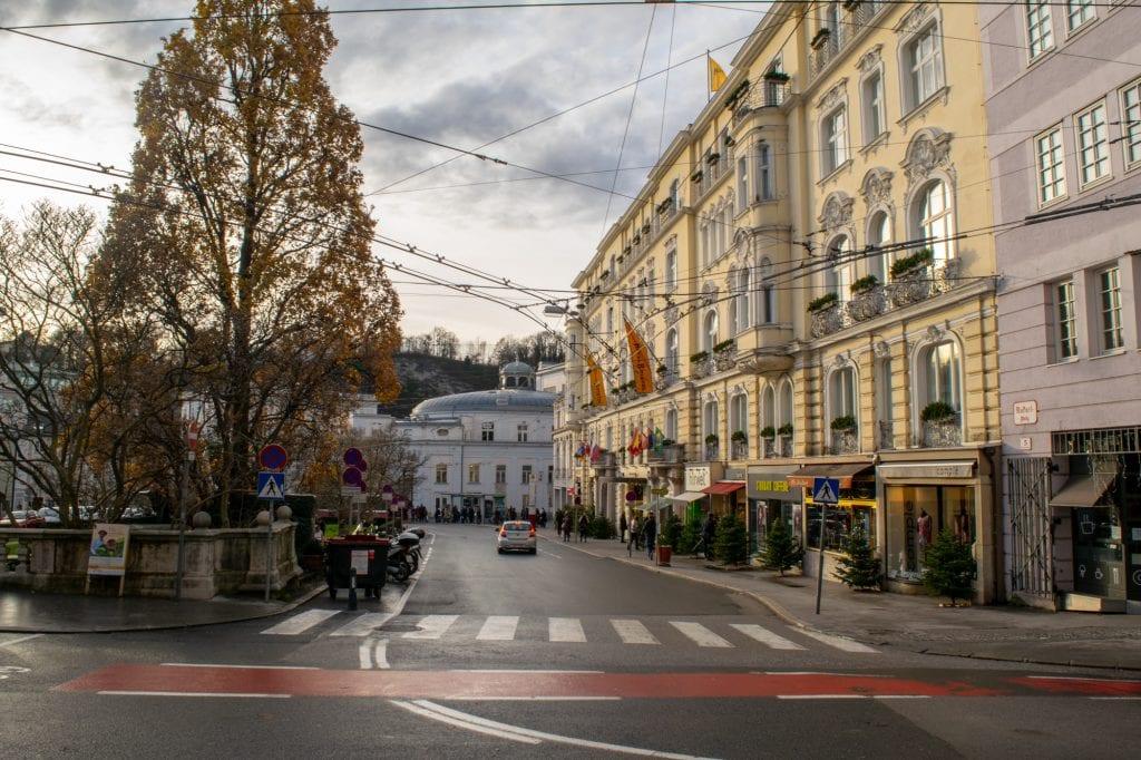 winter streets in salzburg austria