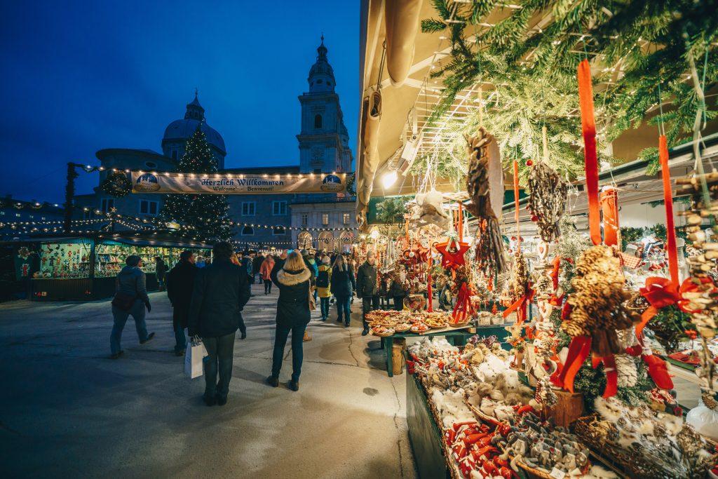 salzburg christmas market during blue hour