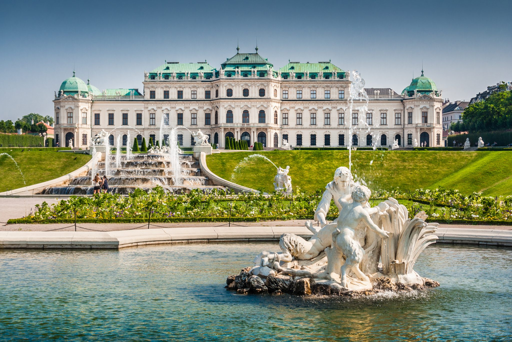 front facade belvedere palace in vienna--when choosing between budapest or vienna, consider vienna's palaces