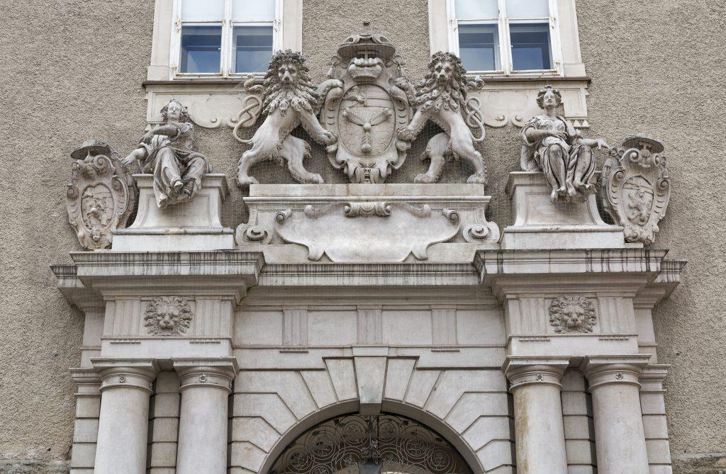 carvings over front doorway of salzburg domquartier