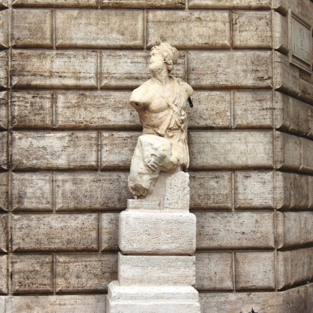talking statue in piazza di pasquino, one of the best rome piazzas